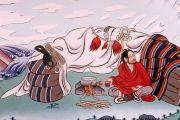 Храмовые фрески с изображением вьючных мешков, уложенных на стоянке.