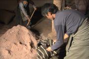 Тибетцы наполняют конские мешки та-гел солью.