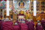 Его Святейшество Далай-лама читает строфы текста во время церемонии дарования монашеских обетов, организованной в его резиденции в Дхарамсале. Дхарамсала, Индия. 8 октября 2018 г. Фото: дост. Тензин Джампхел.