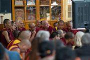 Некоторые из тибетских монахов во время первого дня диалога Его Святейшества Далай-ламы с китайскими квантовыми физиками. Дхарамсала, Индия. 1 ноября 2018 г. Фото: дост. Тензин Джампхел.