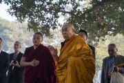 Его Святейшество Далай-лама возносит молитвы по прибытии к месту паломничества. Санкиса, штат Уттар-Прадеш, Индия. 3 декабря 2018 г. Фото: Лобсанг Церинг.