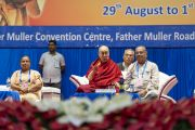 Его Святейшество Далай-лама выступает с обращением во время 52-го национального конгресса Всеиндийской ассоциации католических школ. Мангалуру, штат Карнатака, Индия. 30 августа 2019 г. Фото: Тензин Чойджор (офис ЕСДЛ).